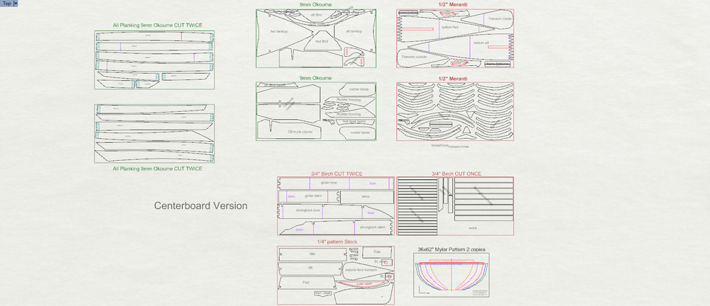 DSD sheet layout for the plywood kit (centerboard version)