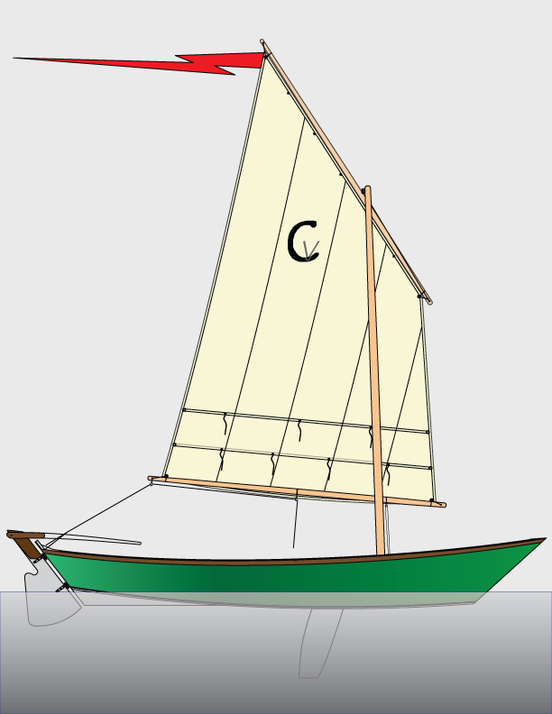 The Caravelle sailing version takes a 60 SF lugsail.