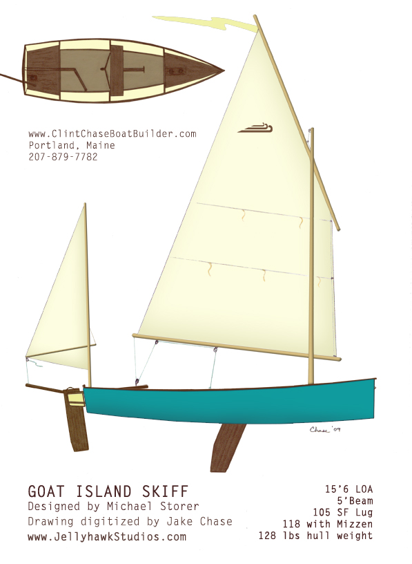 An old classic hand drawing I did way back when I started with the Goat Island Skiff!   Mizzen Brackets  are now available to convert your Goat to a Yawl.