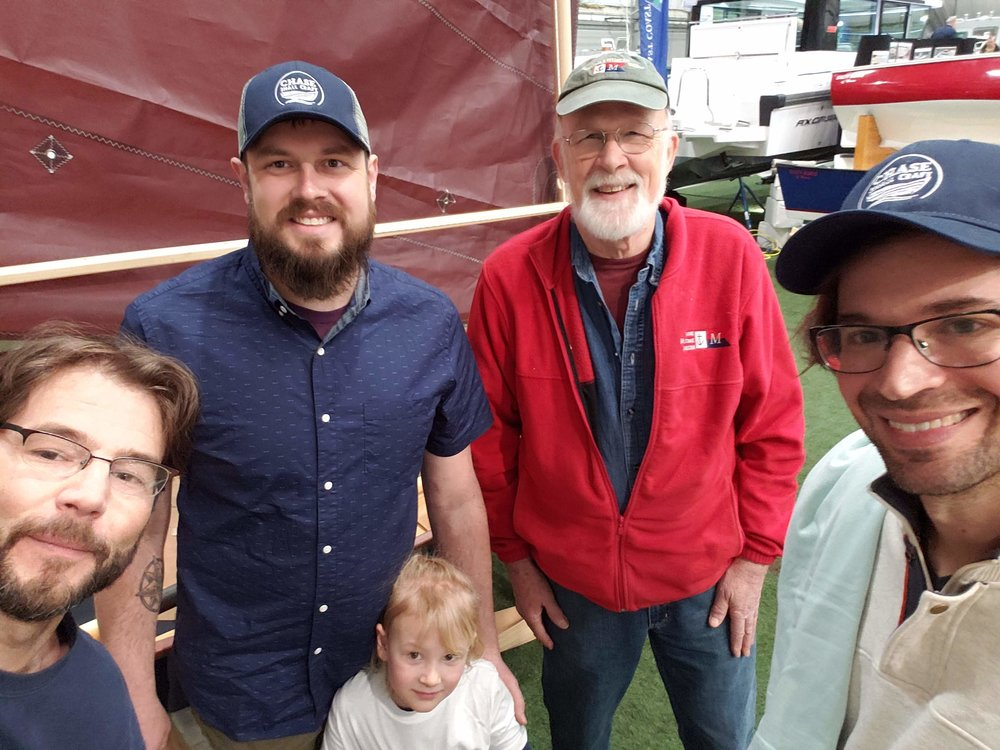 Two sponsors of the Calendar Islands 18 design project and boatbuilder/teaching colleague from WoodenBoat.