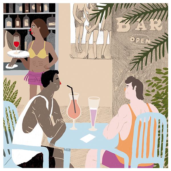 """Könnte es nicht sein, dass sie sich lieben?  - Text from Donat Blum  """"Wegen den Trannies setzten wir uns am White Beach in die Sunset Bar. Jeden Abend Trannies- und Feuershow; am besten hier, hatte man uns auf der Insel gesagt, auf der wir die letzten Tage der Philippinenreise verbrachten. """"Oooh, it's the best here"""", sagte die Kellnerin, die sich als Mia vorstellte. """"The only bar with only trannies working"""", rief sie in den höchst möglichen Tönen und liess eine in Plastik geschweisste Cocktailkarte auf den Strandtisch sausen. """"You brothers?"""", fragte sie und zeigte auf uns mit einem Gesicht wie aus einer Telenovela. Wir lachten. """"Oooooh, cute boys!"""" Am Vorabend hatten wir noch in den Bergen in einem Dorf an einem Fussballplatz gesessen. Unermüdlich rannten die Kinder hinter den Gittern hin und her. Ich musste nicht lange überlegen, wer von den Kindern Joel war, wer ich....."""""""
