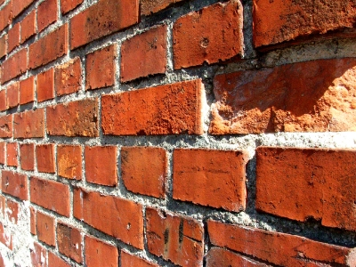 Old, damaged brickwork and mortar
