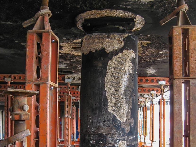 Damage of Concrete Pillar Can Help Determine Extent of Damage - Image source: Sandberg.co.uk