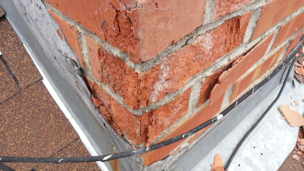 Damage and Flaking Due To Spalling Brick -    Source: nachi.org