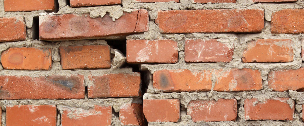 Large crack in brick wall -  Source: buildera.com