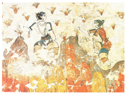 Ancient Greek fresco of the saffron harvest from Art of the Harvest, by Claire Cheney