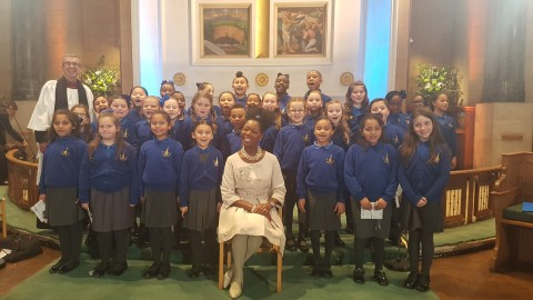 6.12.17 Floella and Simon with St Mary's school choir SU service.jpg