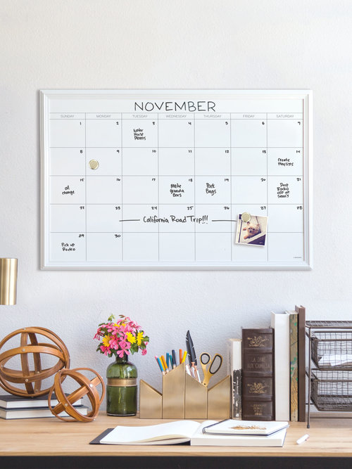 Magnetic Dry Erase Calendar, White Wood Frame, 20\
