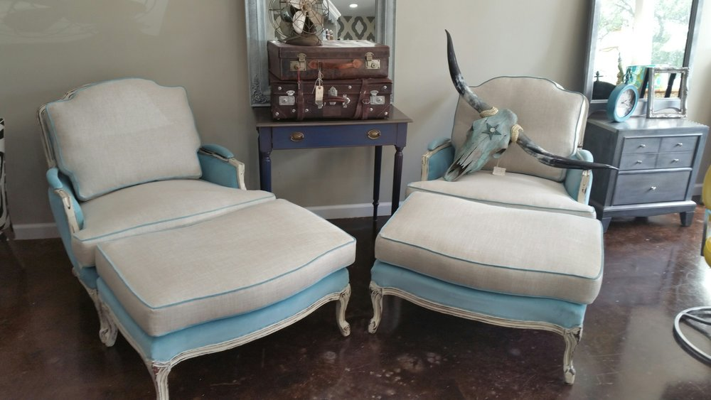 Vintage Bergere Chairs and Ottomans- $2,500.00 These can be customized with Embroidered Monograms on the Pillows! The finish trim is also available to be customized as well with nailheads or without.  The cushion covers are washable with Sunbrella fabric and the body is covered with a vintage inspired velvet.