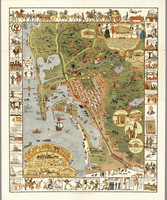 1928 Map of San Diego! Very cool😃 #sandiego #california #saveseaportvillage #map #vintage #sandiegobay