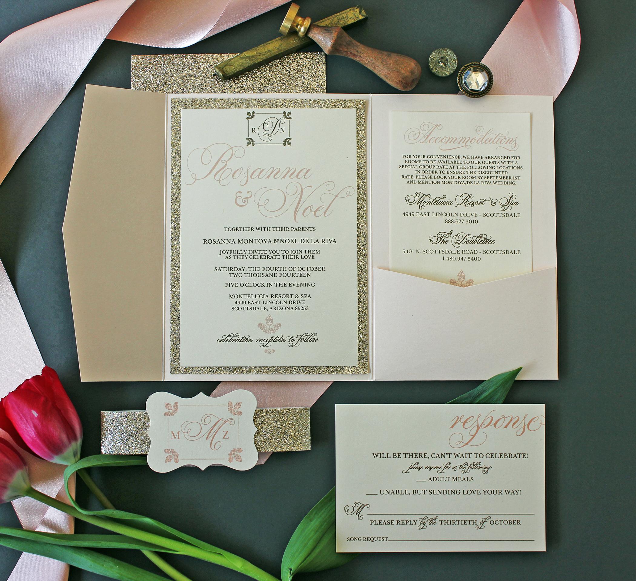 Wedding Invitations Albuquerque: Elegant Champagne Blush & Gold Glitter Invitation Package