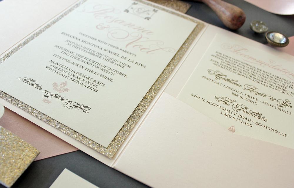 Elegant Champagne Blush Gold Glitter Invitation Package