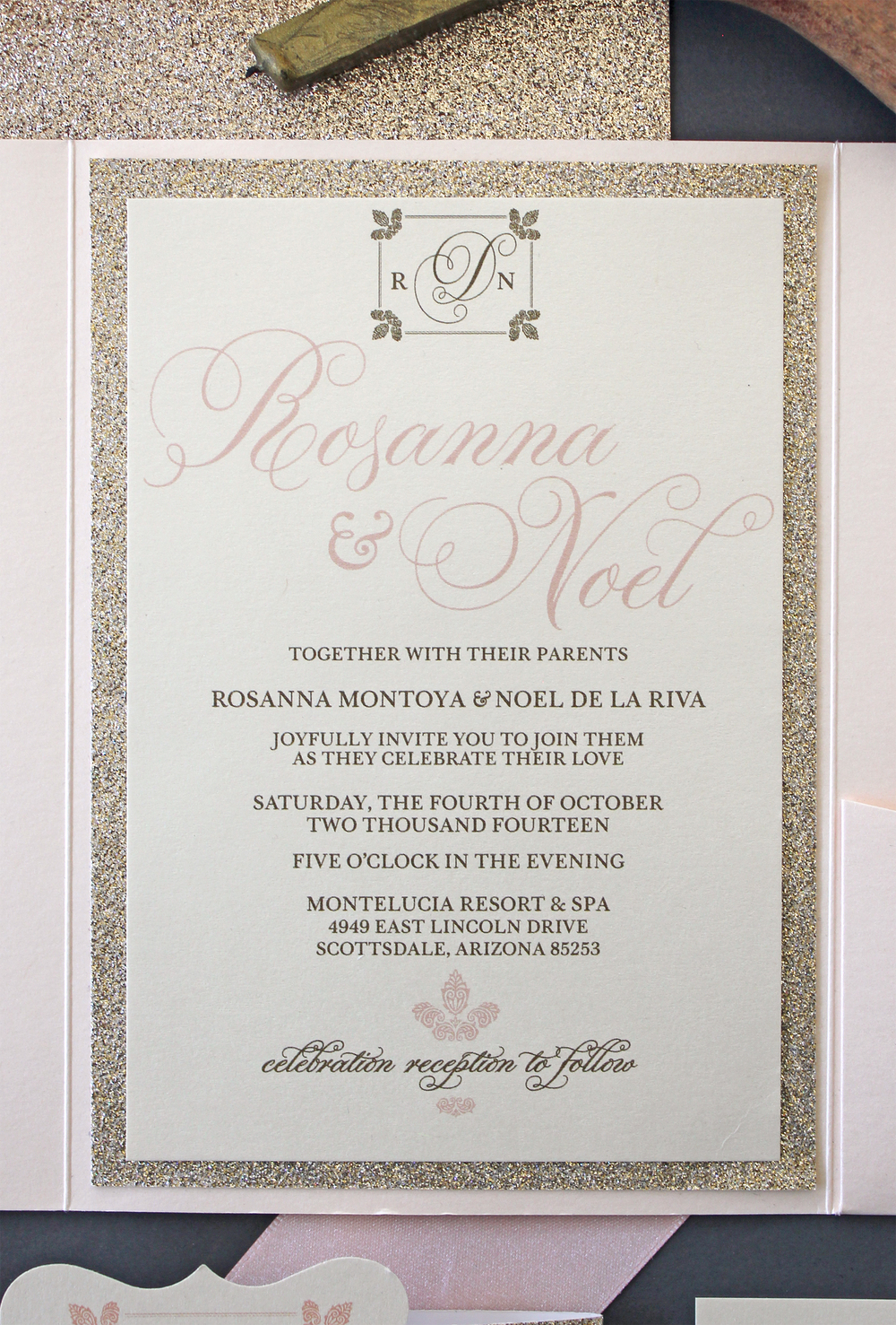Elegant Champagne Blush Gold Glitter Invitation Package Wedding