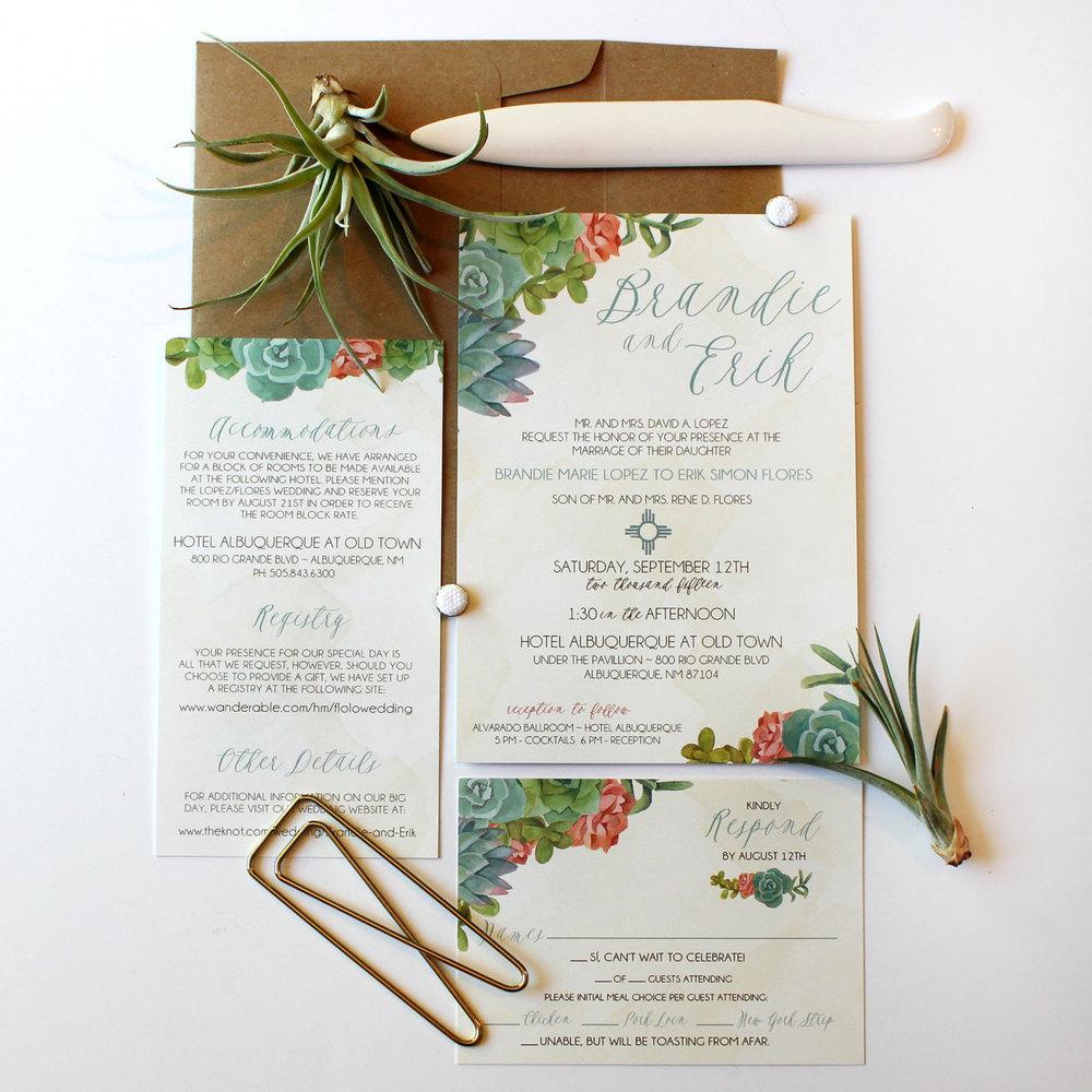 Southwest Succulents Boho Wedding Invitation Package Wedding