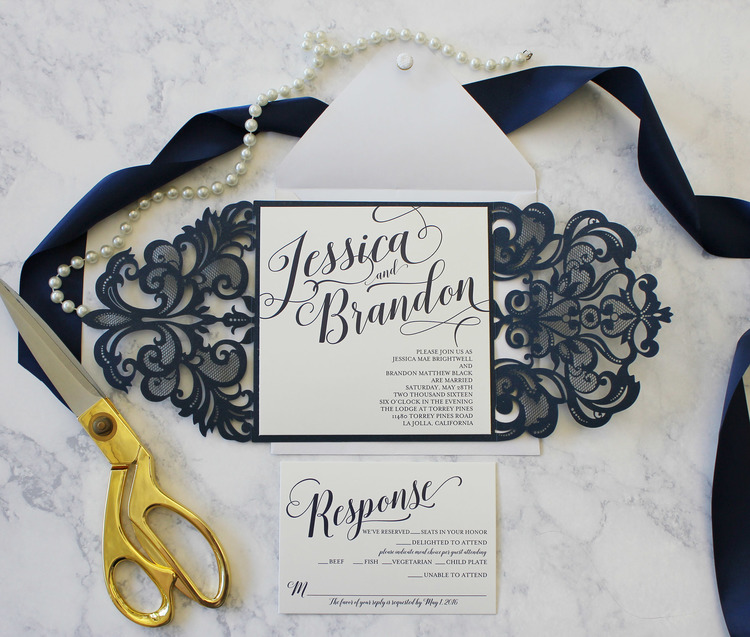 Gorgeous laser cut modern digital calligraphy invitation package gorgeous laser cut modern digital calligraphy invitation package reheart Image collections