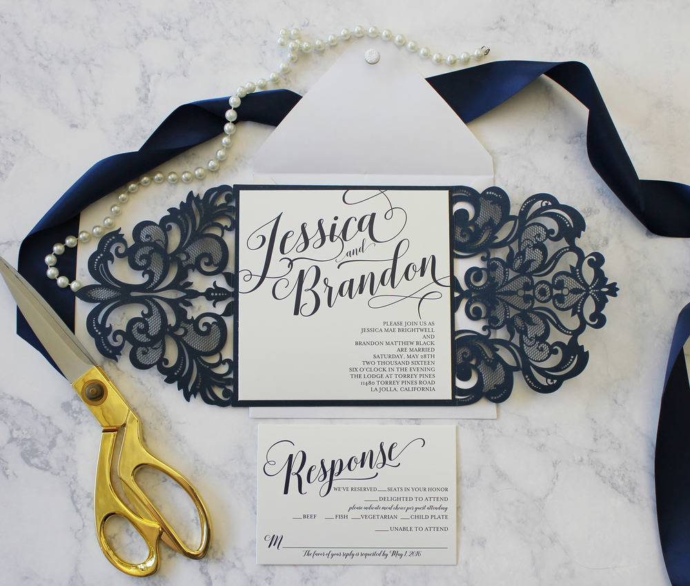 Gorgeous Laser Cut Modern Digital Calligraphy Invitation
