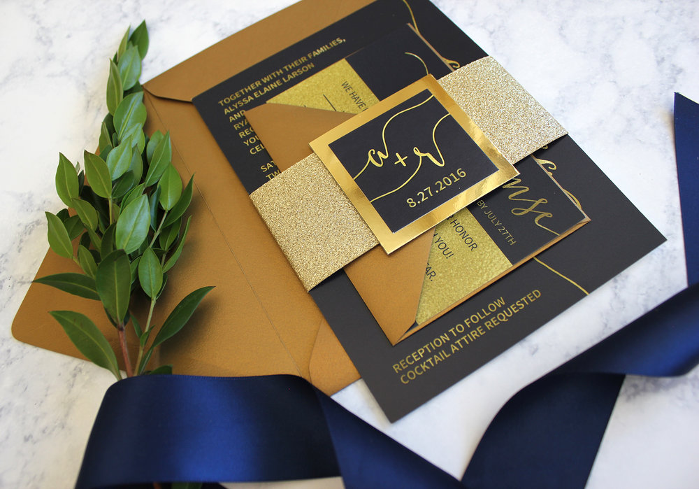 Navy & Gold Glitter Suite - Ready to Mail