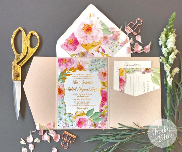 gold foil floral garden invitation package - Wedding Invitation Bundles