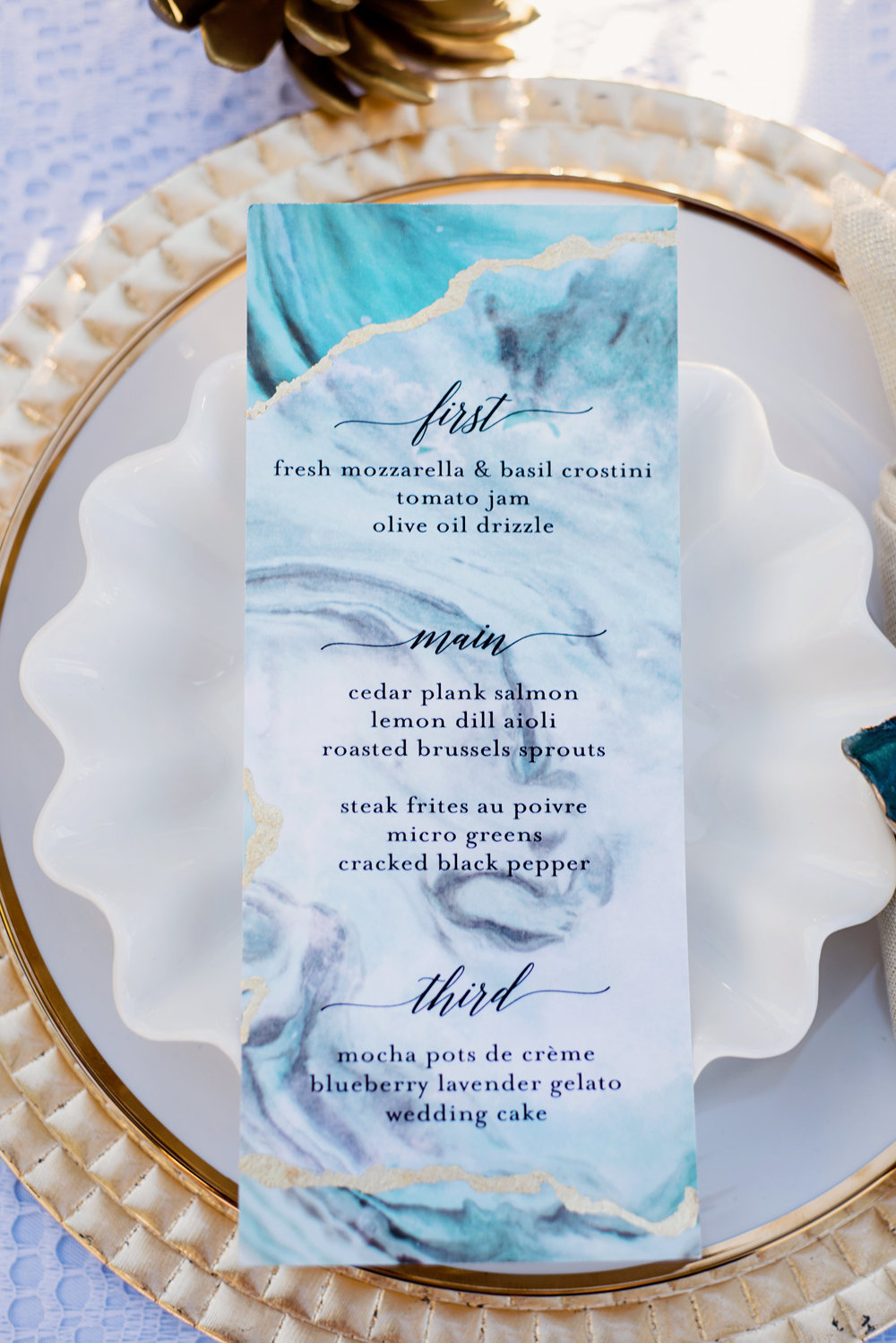 Turquoise and Gold Menu Card