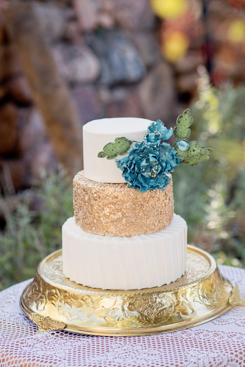 Turquoise & Gold Wedding Cake