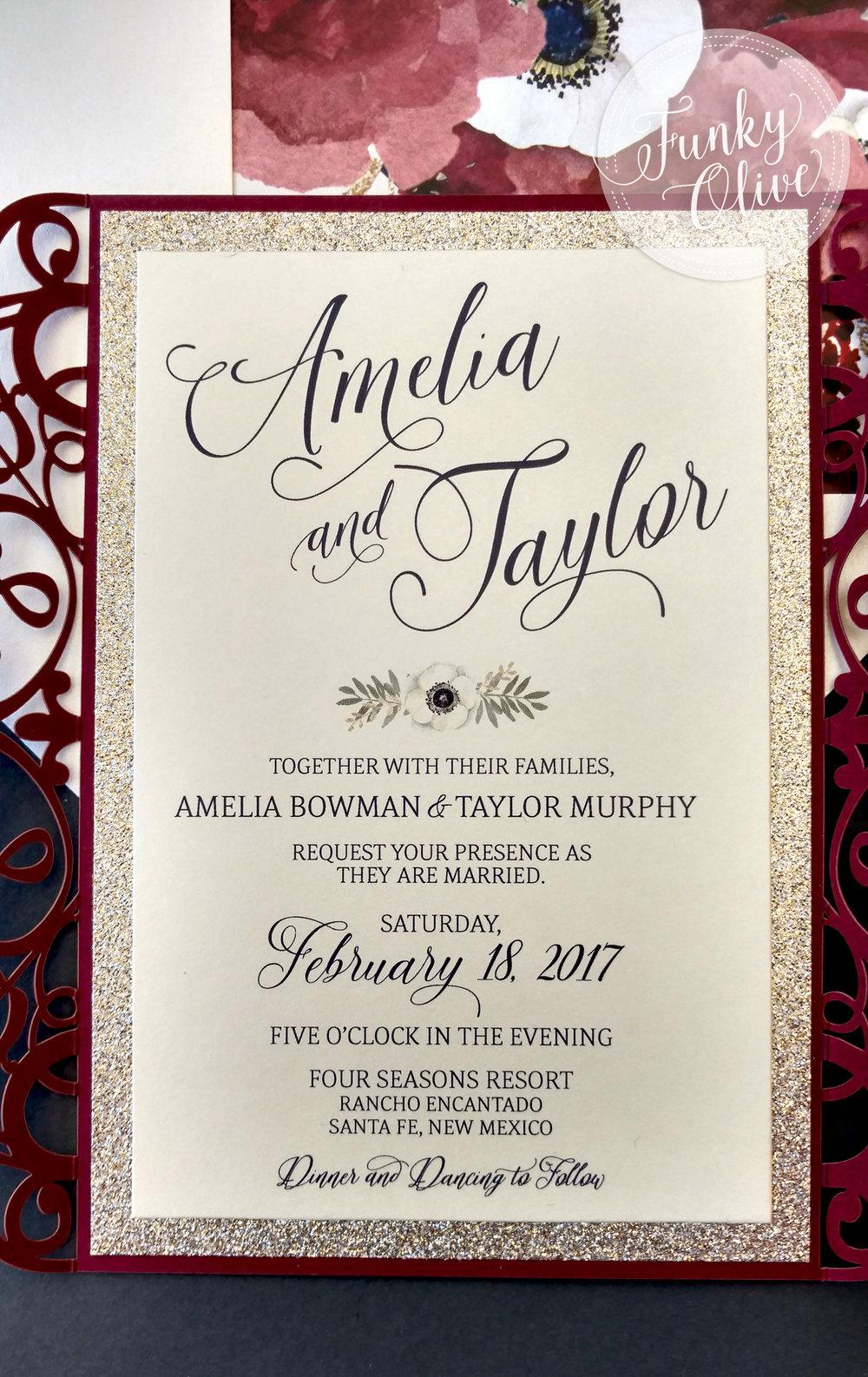 Burgundy, Navy U0026 Gold Laser Cut Wedding Invitation Package