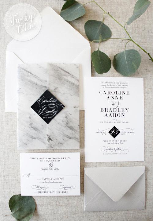 Modern marble vellum wrap invitation suite