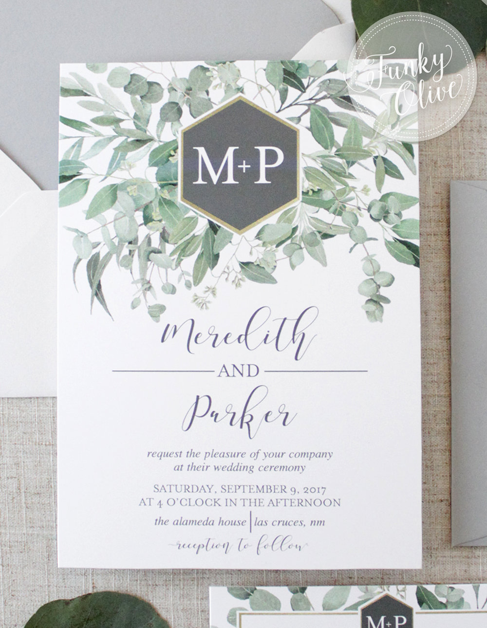 Modern Greenery Hexagon Monogram Invitation Suite Wedding