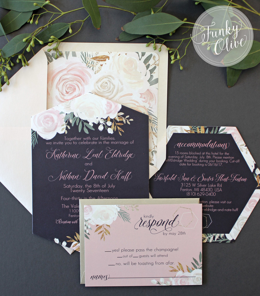 Die Cut Navy Blush Hexagon and Floral Invitation Suite Wedding
