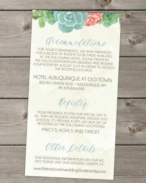 southwest succulents boho wedding invitation package - Wedding Invitation Bundles