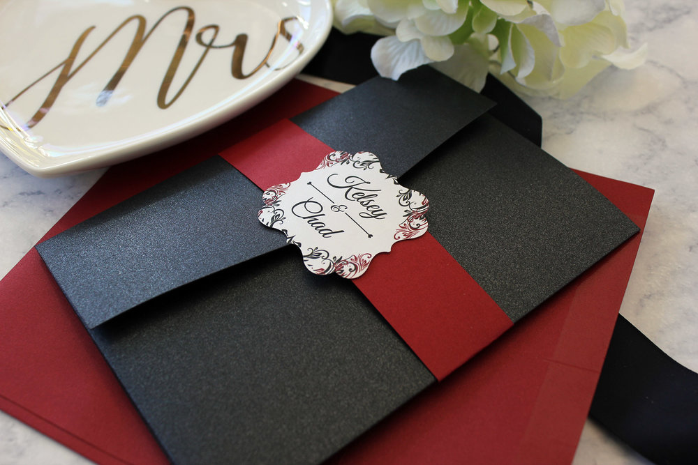 Crimson Shimmer cardstock and a flourish die cut topper for this beautiful finishing touch.