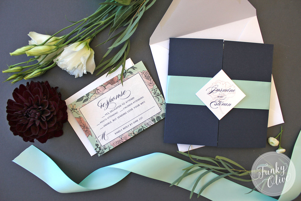 Here we took that classic square cut and turned it on its side to create this fun diamond shape, with a mint green satin ribbon band.