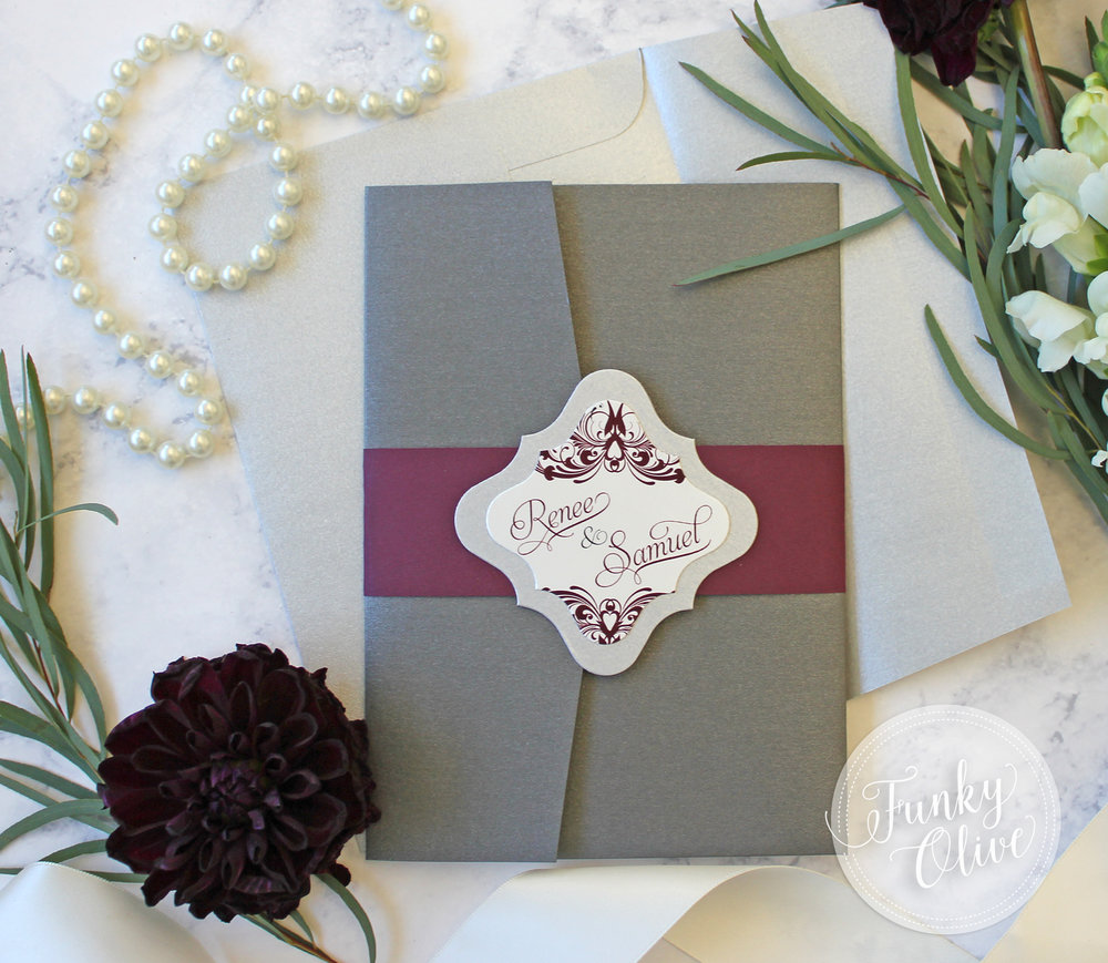 The traditional flourish frame gets an update with a simple rotation of the design - shown with silver shimmer cardstock backing.