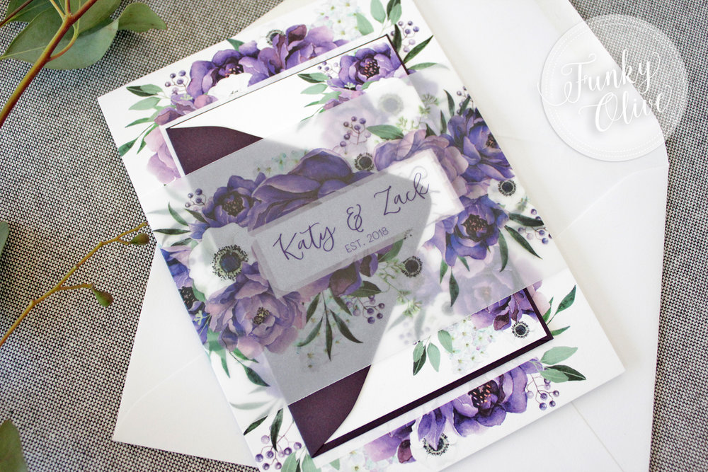 This ultra wide band shown in super modern matte vellum features the watercolor floral pattern from the invitations and the couples names - how pretty is this!!!