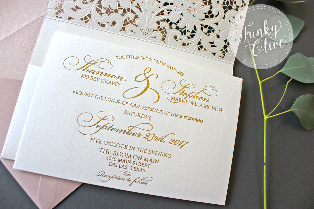 gold foil printed invitation