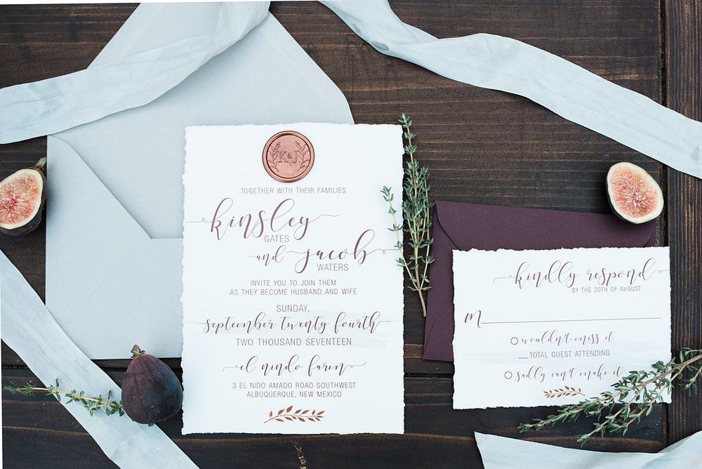 We just can't get over our deckled edge havin', decadent color palette rockin' invitation suite! Are y'all swooning as hard as we are right now!?  Sometimes less really is more especially when your objective is to accentuate natural and raw elements. We absolutely adore how the copper wax seal is playing off of the gorgeously styled figs here.