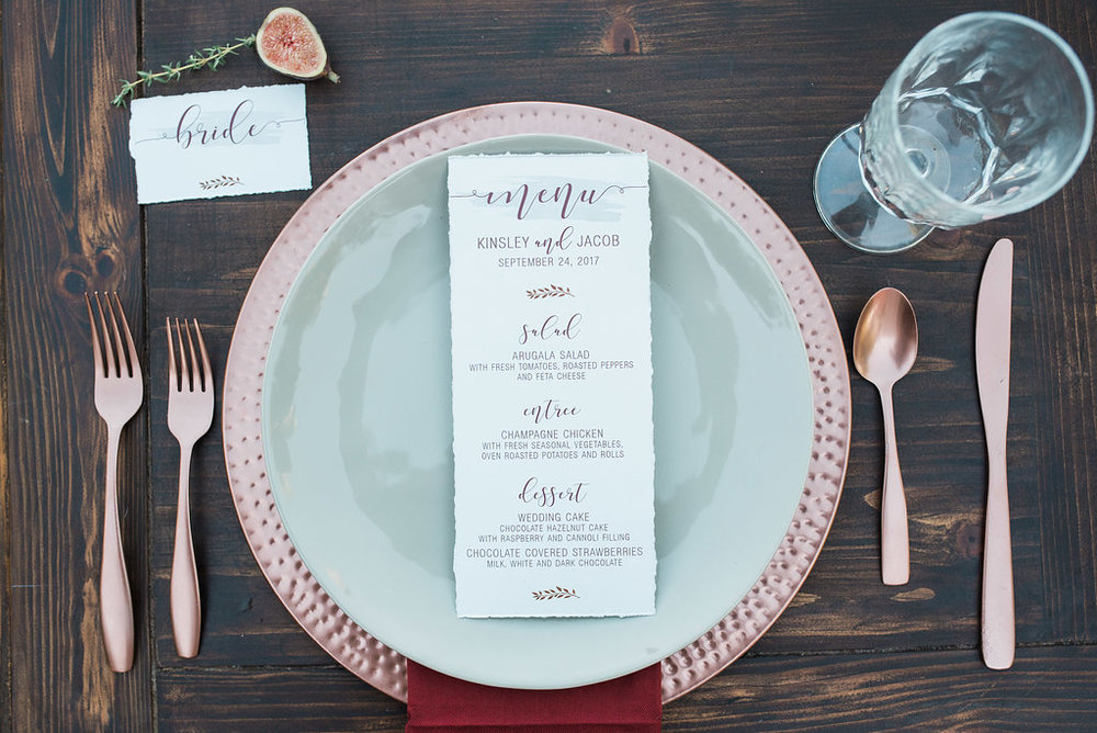 This gray 100% cotton paper stock brought this luxe yet understated design to life. The plum toned modern calligraphy font type brings the boho vibes while the watercolor swash added the perfect amount of depth to this magnificently minimalistic design.