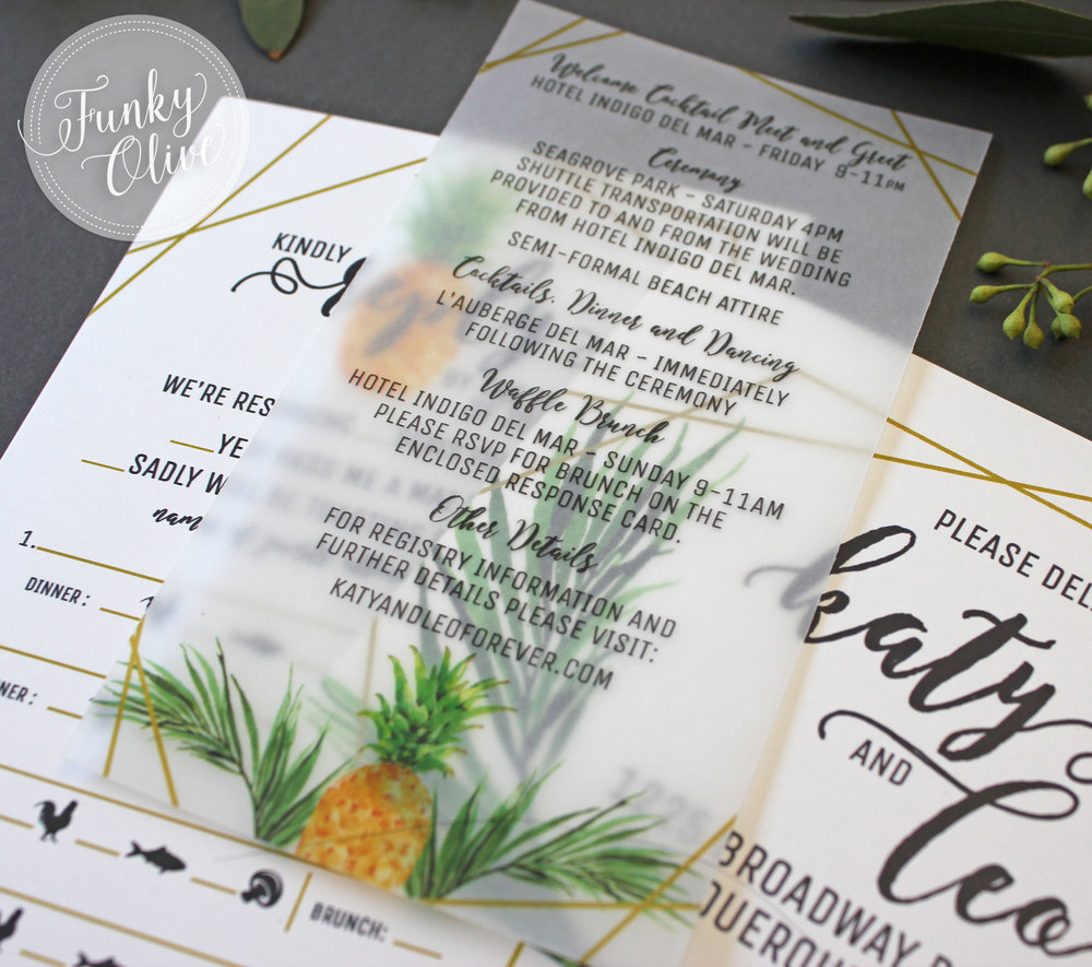 Matte vellum info inserts with a fun, modern pineapple theme.