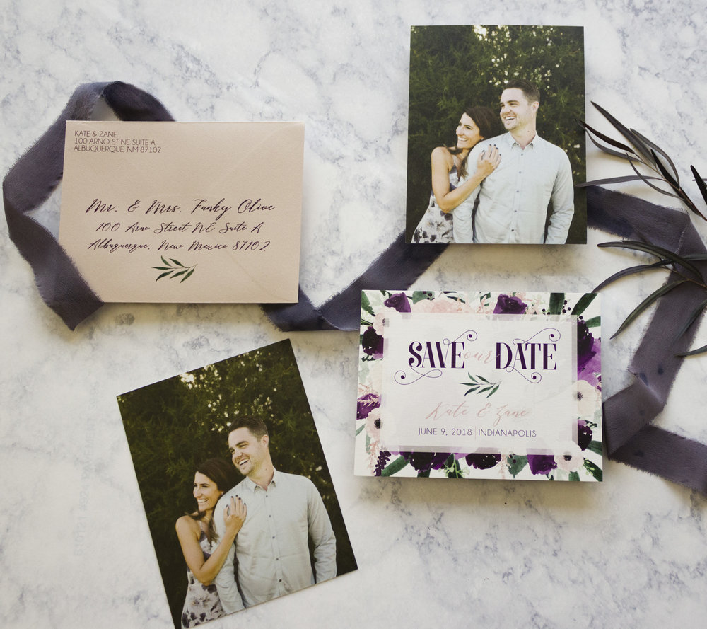 I mean seriously, look how gorgeous this couple is! Their save the dates were printed on pearl shimmer cardstock, with a nude shimmer envelope and included guest and return address printing - which is a HUGE time saver guys! Photo © Funky Olive Invitations + Stationery 2018