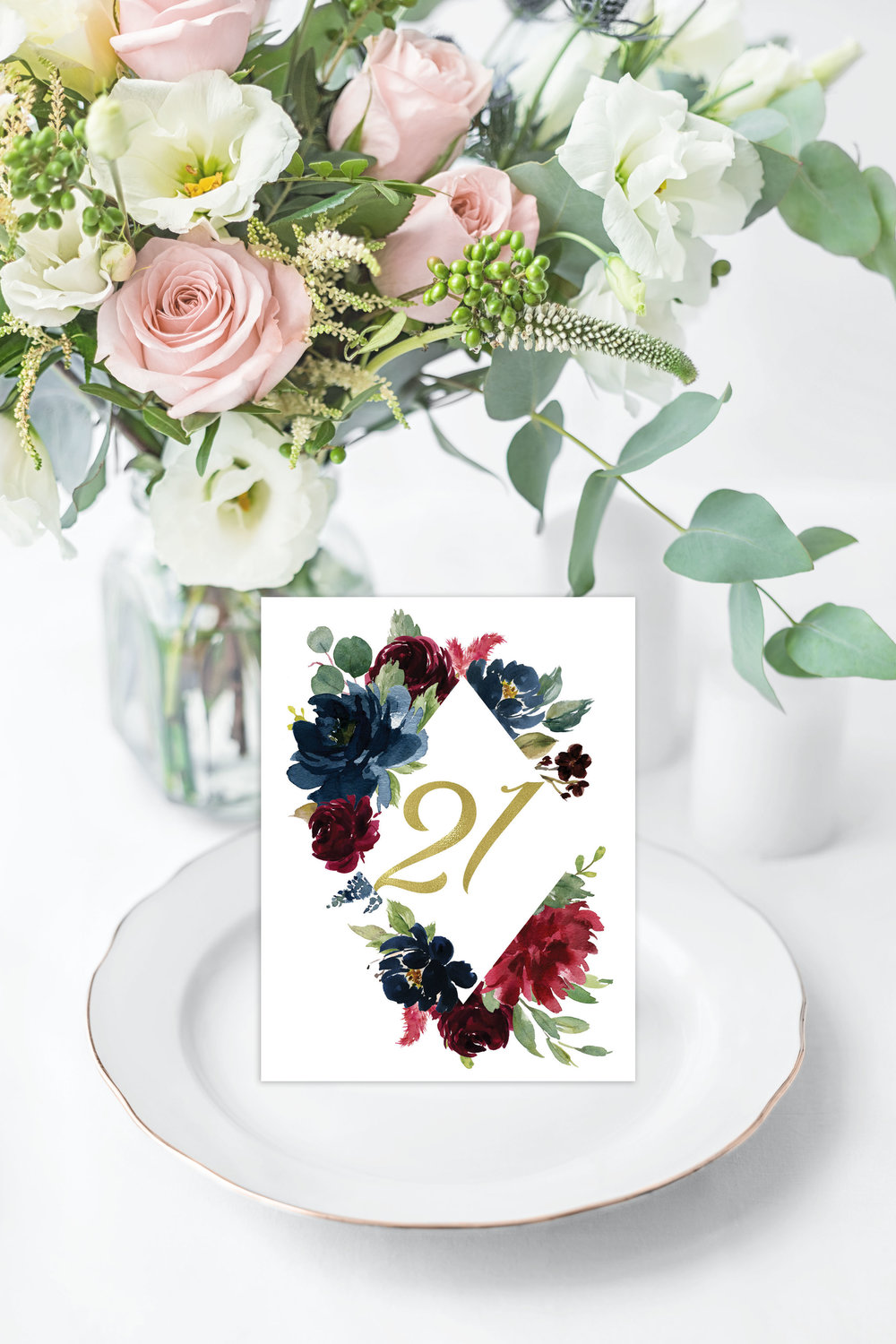 NAVY & BURGUNDY FLORAL TABLE NUMBER - FLAT OR TENT FOLDED.jpg