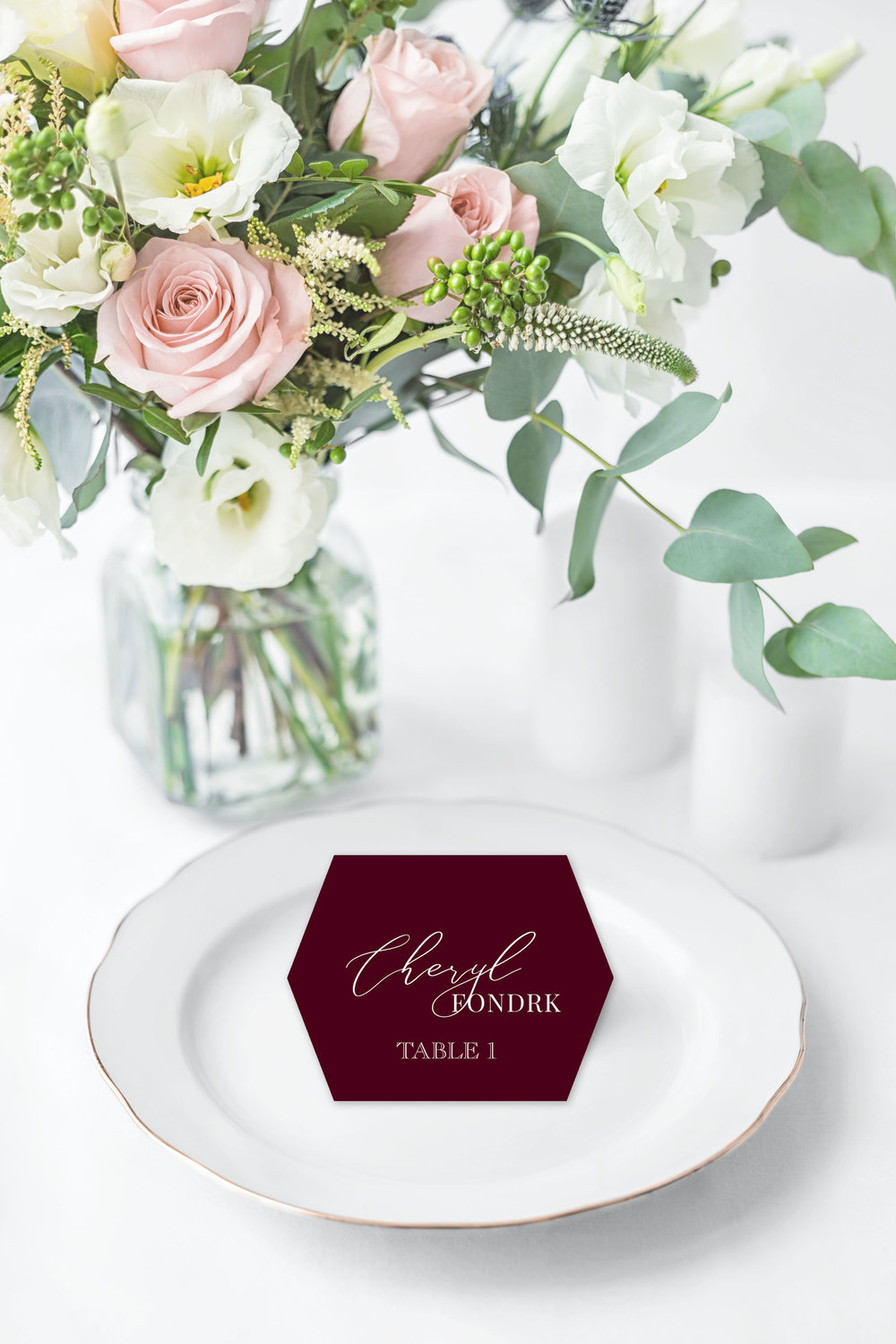 WHITE INK ON BURGUNDY HEXAGON PLACE CARD.jpg