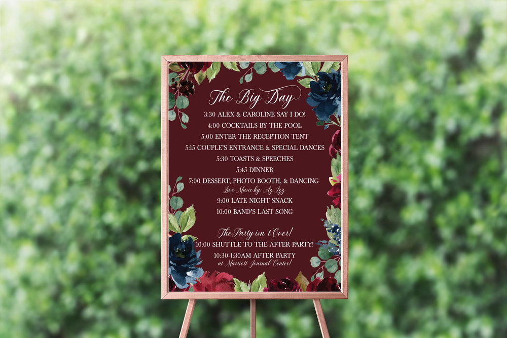 NAVY & BURGUNDY FLORAL LARGE TIMELINE SIGN 2.jpg