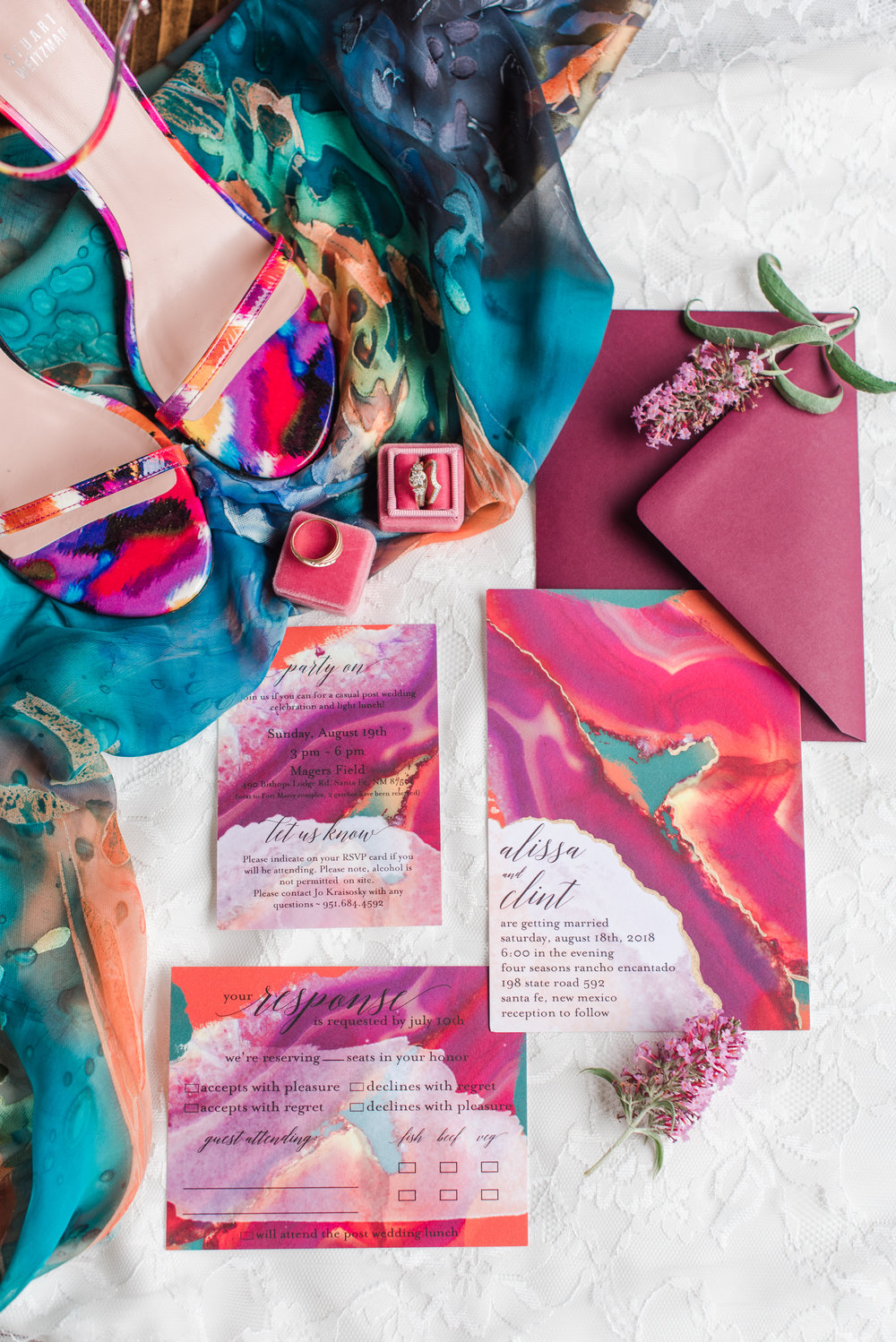 Alissa and Clint were just the perfect blend of bold, fearless and bright, and their invitations were nothing short of jaw-dropping. Photo by the Queen herself,  Maura Jane Photography