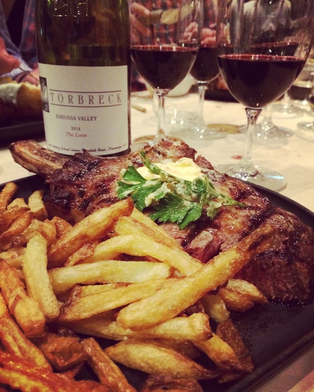 What other ending to this day than steak washed down with Torbreck 'The Loon' 2014 Shiraz eaten in good company at  A Hereford Beefstouw  in Adelaide?! This Danish themed steakhouse has its own farm full of free-range pasture-fed cattle. The wine is Shiraz co-fermented on Roussanne skins which creates an intense but balanced red full of juicy dark fruit with a hint of dark chocolate.
