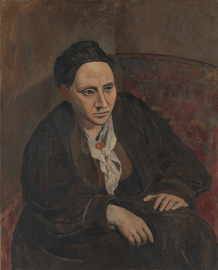 Gertrude Stein  , 1905–6   Pablo Picasso (Spanish, 1881–1973)   Oil on canvas; 39 3/8 x 32 in. (100 x 81.3 cm)   Bequest of Gertrude Stein, 1946 (47.106)   © 2011 Estate of Pablo Picasso / Artists Rights Society (ARS), New York