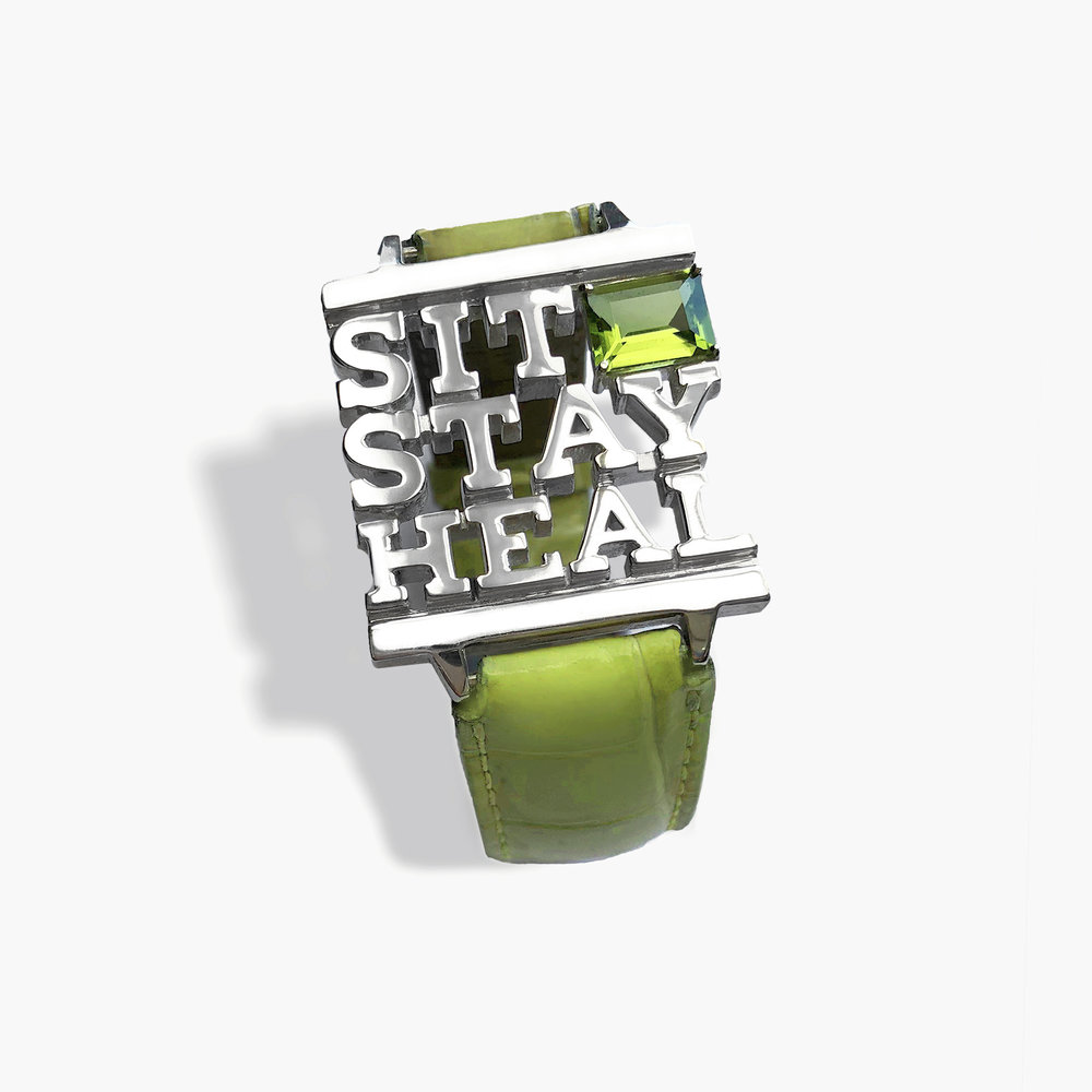 Sit Stay Heal Bracelet in Sterling silver, tourmaline, alligator skin watchband, stainless steel hardware. Unique.