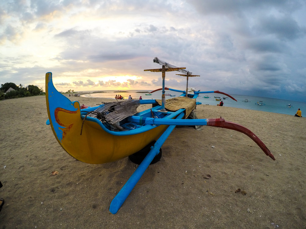 sunset, Sea, fishing boat, Bali, Indonesia, Asia | DoLessGetMoreDone.com |