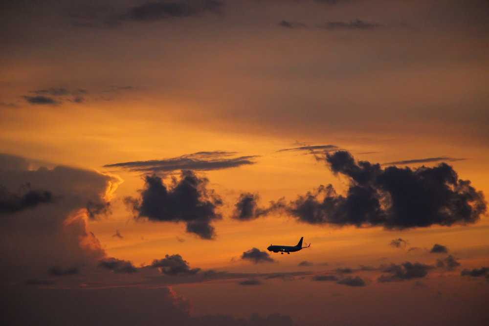 sunset, sky, clouds, airplane, Bali, Indonesia, Asia | DoLessGetMoreDone.com |