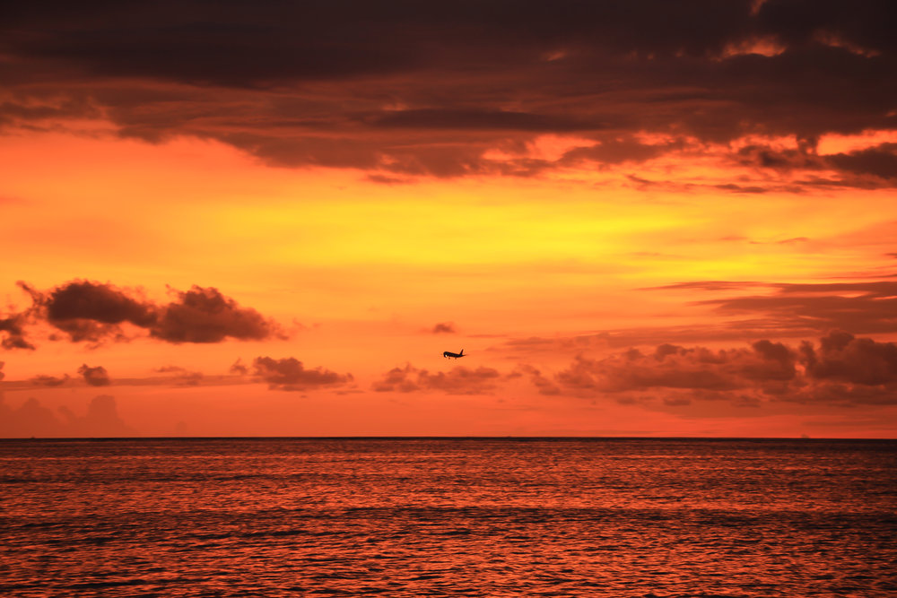 sunset, sky, clouds, sea, airplane, Bali, Indonesia, Asia | DoLessGetMoreDone.com |