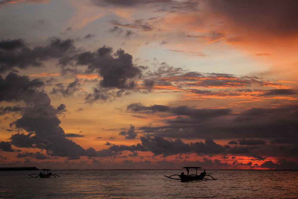 sunset, sky, beach, sea, fishing boat, Bali, Indonesia, Asia | DoLessGetMoreDone.com |