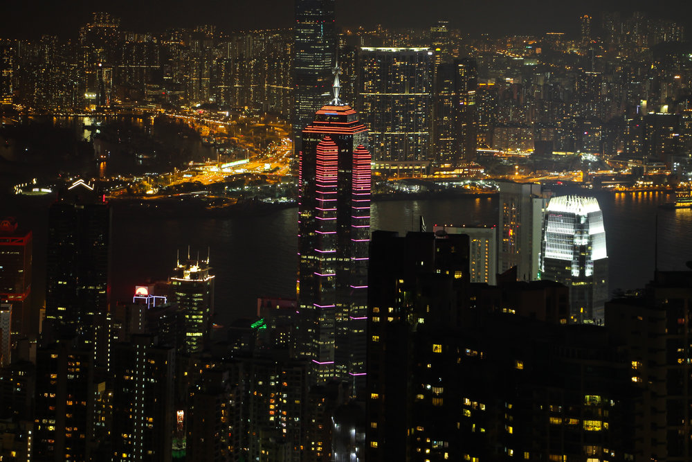 HONG KONG, HONG KONG ISLAND, KOWLOON, SOUTH CHINA SEA, VICTORIA PEAK, NIGHTLIGHT, ASIA | DOLESSGETMOREDONE.COM |
